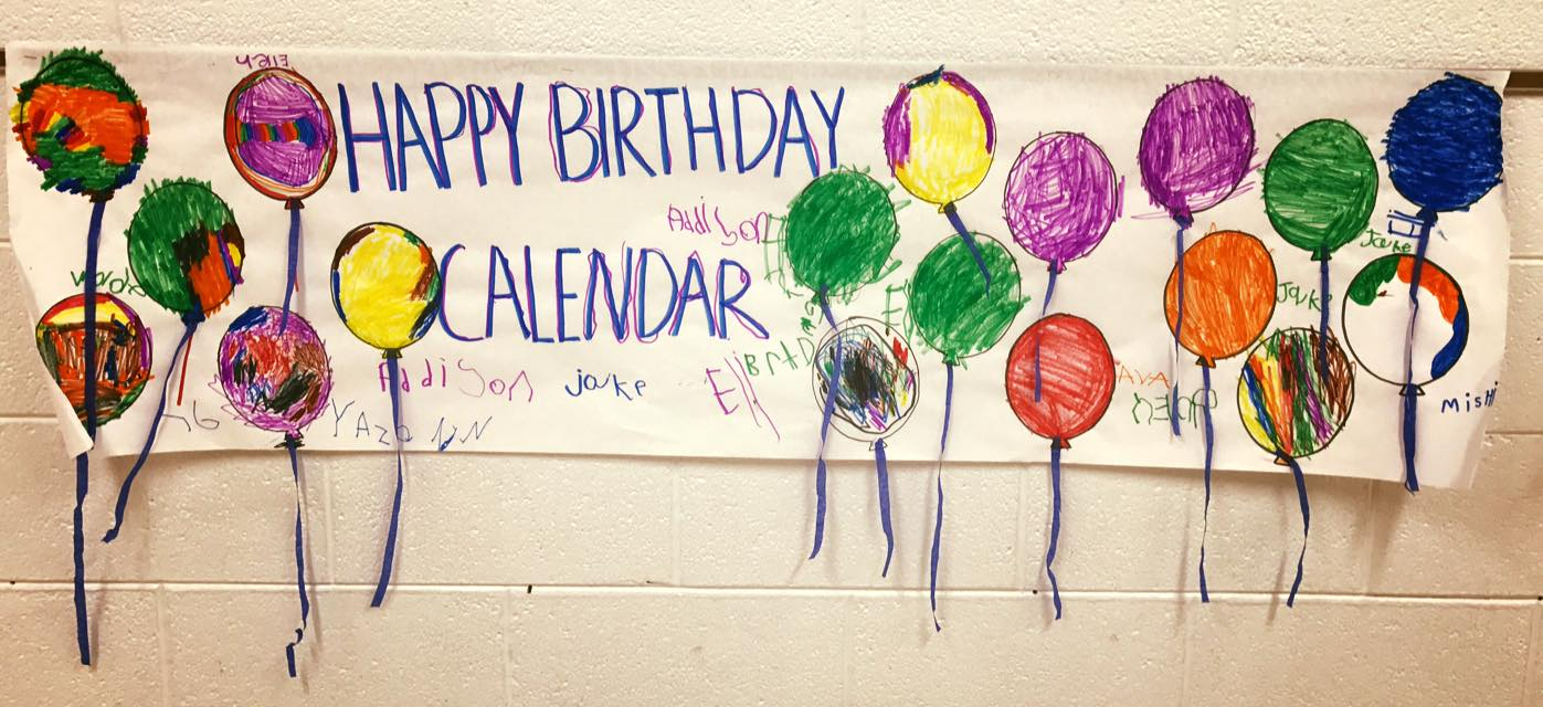 Happy birthday to the calendar. We had a party, ate ice cream and made a card.